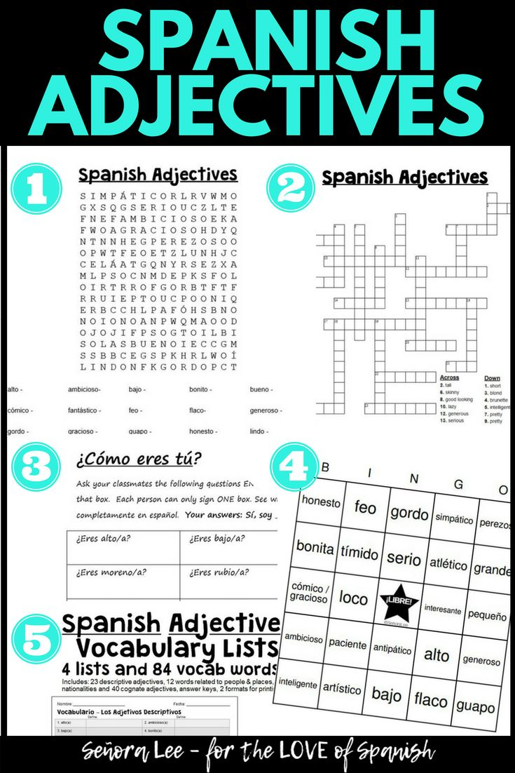 Spanish Adjectives Agreement - Spanish4Teachers.org