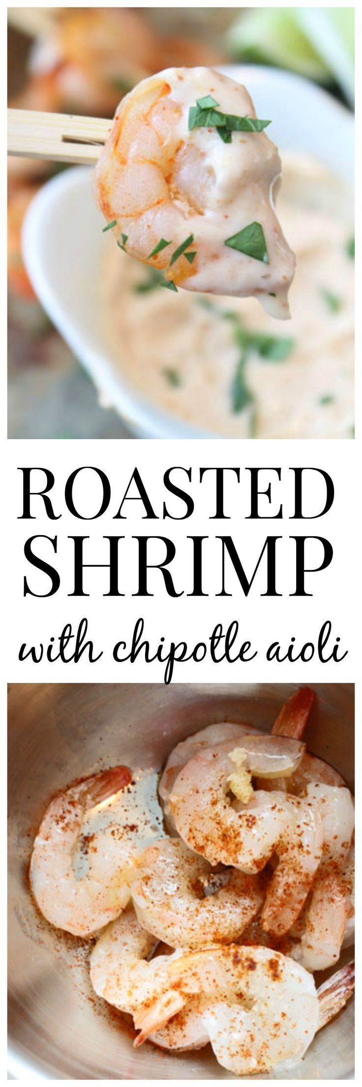Roasted Shrimp Cocktail with Chipotle Aioli - The EASIEST, most tasty party bite!
