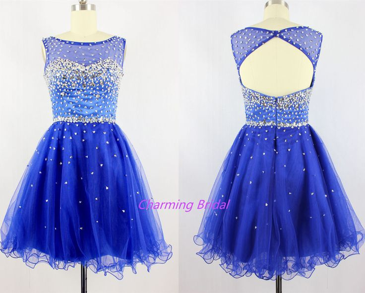 Royal Blue Crystal Sequined Short Prom Dress A Line Scoop Homecoming Dress 2014