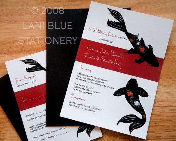 Japanese Koi Wedding Invitation Sample  par LaniBluePrintPress