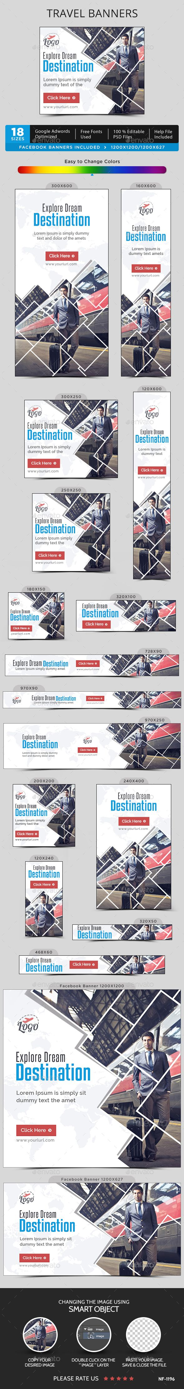 Travel Banners — Photoshop PSD #studio #flat design • Available here → https://graphicriver.net/item/travel-banners/15633802?ref=pxcr