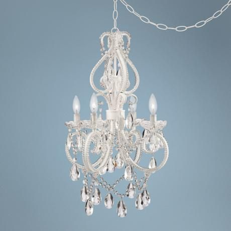 Alderton white 16 1 2 wide crystal plug in swag chandelier 2r823 nursery for Crystal chandeliers for bedrooms