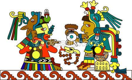 Стилизованный рисунок древних индейцев. Ацтеки, майя, инков. Индийский священник проходит горячий шоколад. Векторные иллюстрации — стоковый вектор #105405666
