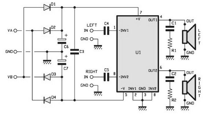 15watts stereo amplifier circuit