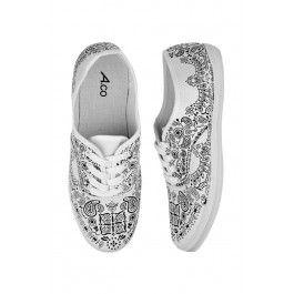 Black & white paisley sneakers
