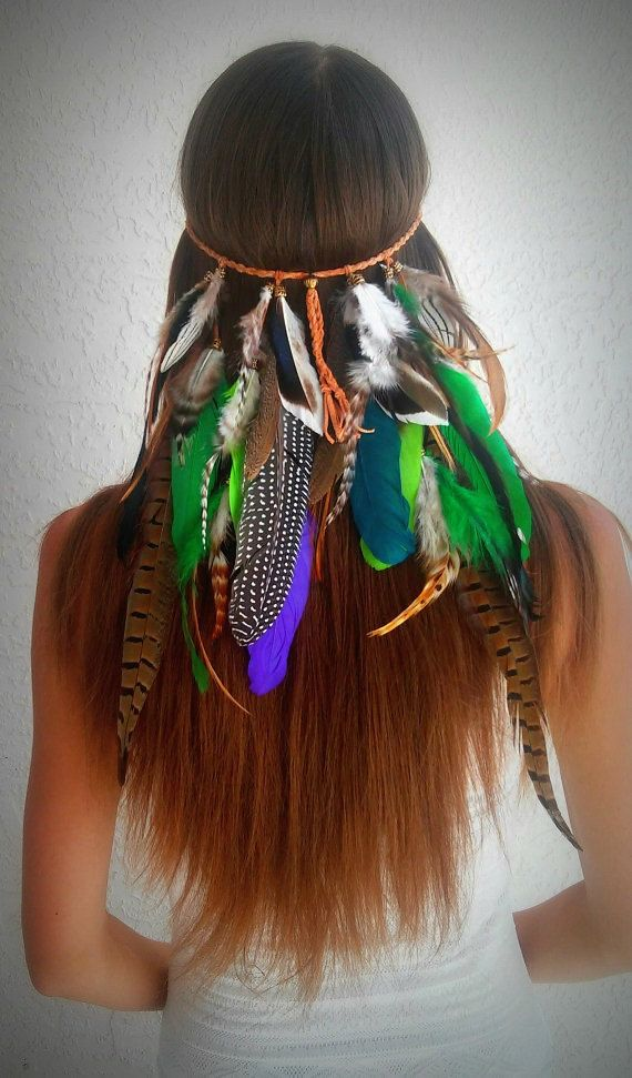 Amazon Rainforest Feather headband native american style indian tribal bohemian hippie hair band gypsy hippy green pocahontas