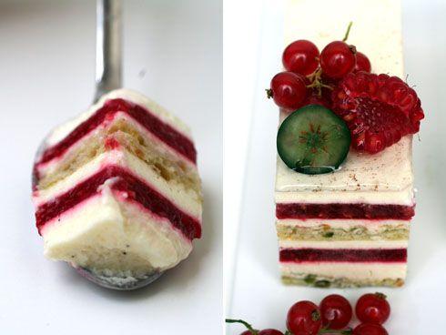 pistachio joconde, vanilla bean bavarian and jellyfied raspberry coulis gateau