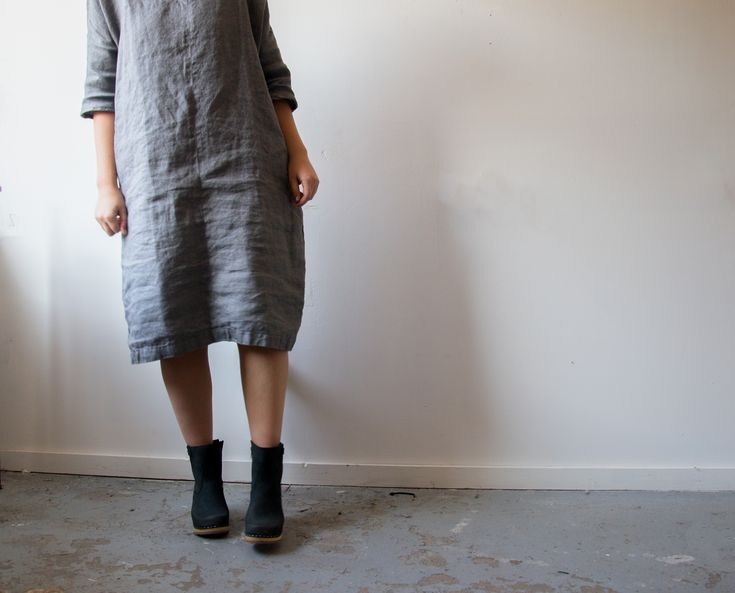 New York wooden leather clog boots  by Sandgrens clogs. Matched with a beautiful linen dress from notPerfectlinen.