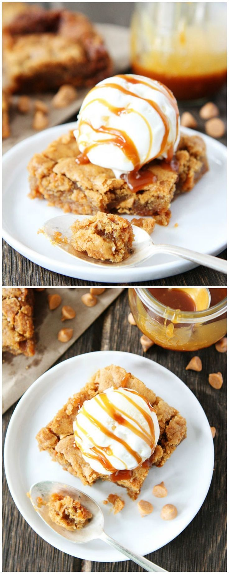Salted Caramel Butterscotch Blondie Recipe on twopeasandtheirpod.com Chewy blondies with butterscotch chips and salted caramel sauce. This easy blondie recipe is perfect for parties, potlucks, or every day dessert!