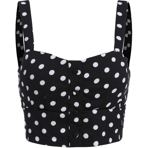 Spaghetti Strap Polka Dot Black Cami Top ($13) ❤ liked on Polyvore featuring tops, shirts, black, black spaghetti strap tank top, black cami, black singlet, camisole tops e camisole tank