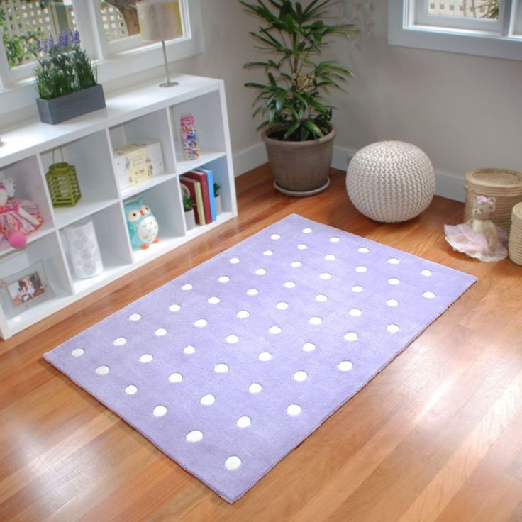 Dotty for You Kids Rug in lavender from BugRugs.  A sweet polka dot children's rug done in a lovely lavender shade.  Perfect for nurseries, bedrooms and playrooms.  Available in 1.1m x 1.6m size.