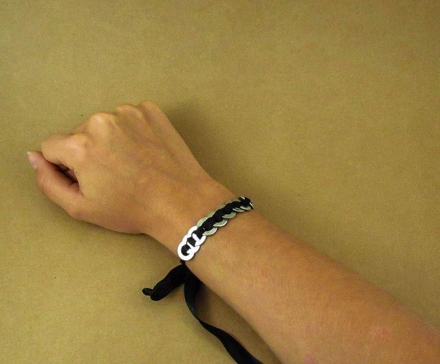 Ribbon woven washer bracelets
