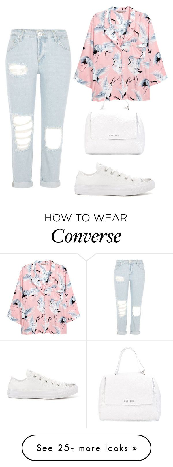 """Untitled #497"" by lolaalmalki on Polyvore featuring H&M, River Island, Converse and Orciani"