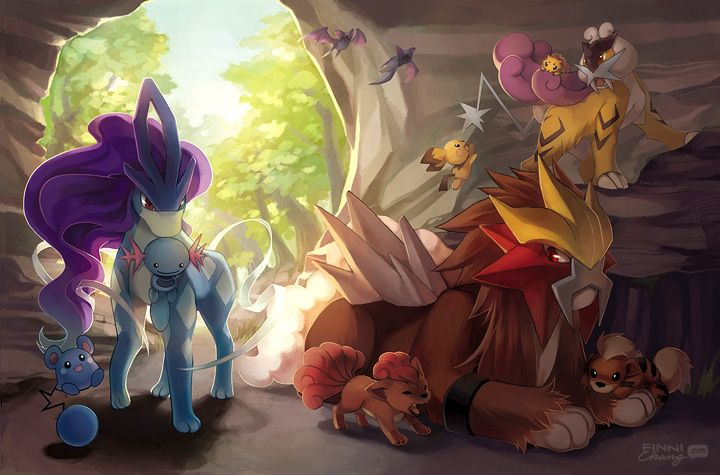 PKMN: Legendary Beasts by finni.deviantart.com on @deviantART (Suicune, Entei, Raikou, Joltik, Zubat, Wooper, Azurill, Pichu, Vulpix & Growlithe)
