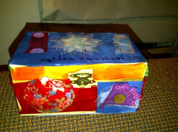 My Mother's Day gift. A wooden tea box decorated by my 8yo son.