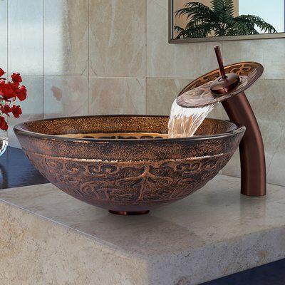VIGO Golden Greek Glass Circular Vessel Bathroom Sink with Faucet