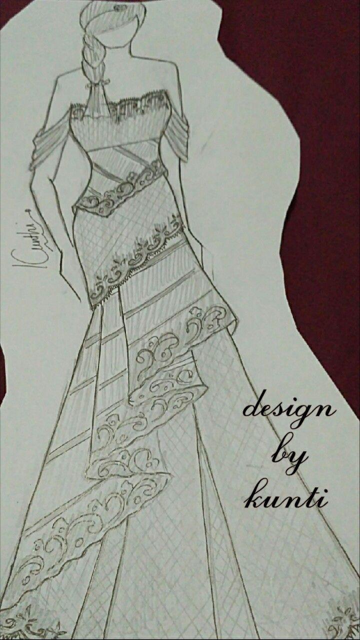 Kebaya Modern off shoulder kombinasi Batik n Lace