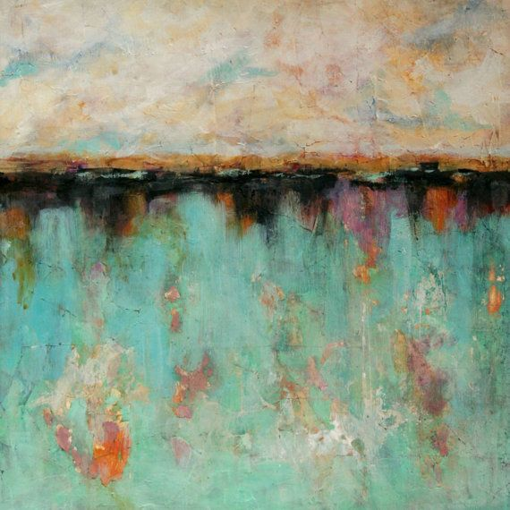 Original Abstract Painting Mixed Media Art Landscape Painting on Etsy, $135.00