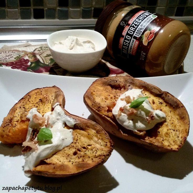 Baked sweet potato with peanut cottage cheese #zapachapetytu #sweetpotato #peanutbutter