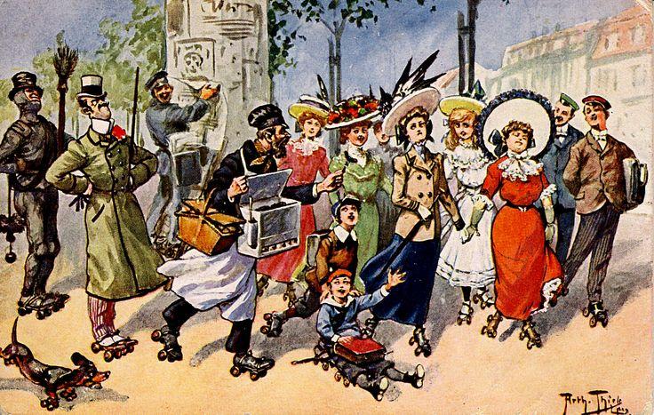 https://flic.kr/p/robUah | Old Postcard - Arthur Thiele - Rollschuhe für jedermann - Roller skates for everyone - | My good friend Asmodea present her collection