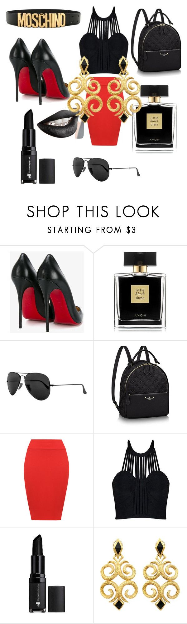 """MARGUERITE'S MASTERPIECE"" by marguerite-dillworth on Polyvore featuring Christian Louboutin, Avon, Ray-Ban, WearAll, e.l.f. and Moschino"