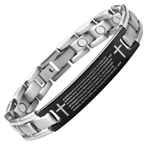Willis Judd New Mens Titanium Lords Prayer In English Magnetic Bracelet in Velvet Box with Free Link Removal Tool... $74.99 (6% OFF)