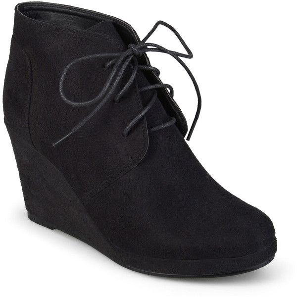 Journee Collection Enter Womens Wedge Booties ($73) ❤ liked on Polyvore featuring shoes, boots, ankle booties, ankle boots, lace up wedge bootie, lace up bootie, platform wedge bootie and wedge boots