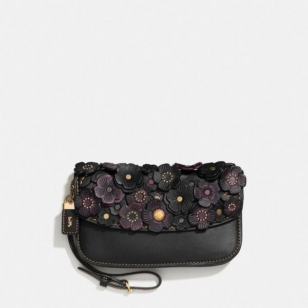 Coach Clutch ($295) ❤ liked on Polyvore featuring bags, handbags, clutches, coach handbags, coach wristlet, coach purses, crossbody purse and leather purses