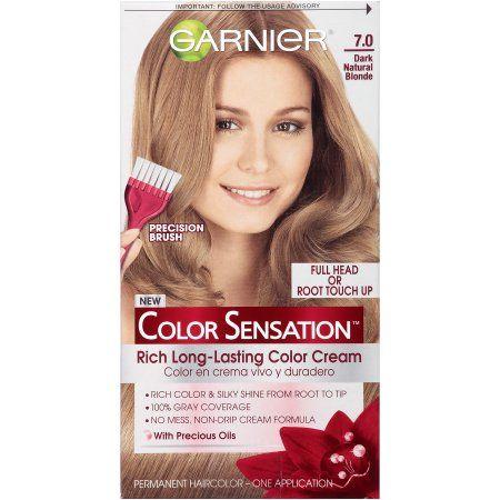 Garnier Color Sensation Rich Long-Lasting Color Cream, 7.0 Dark Natural Blonde, 1 Kit, Beige