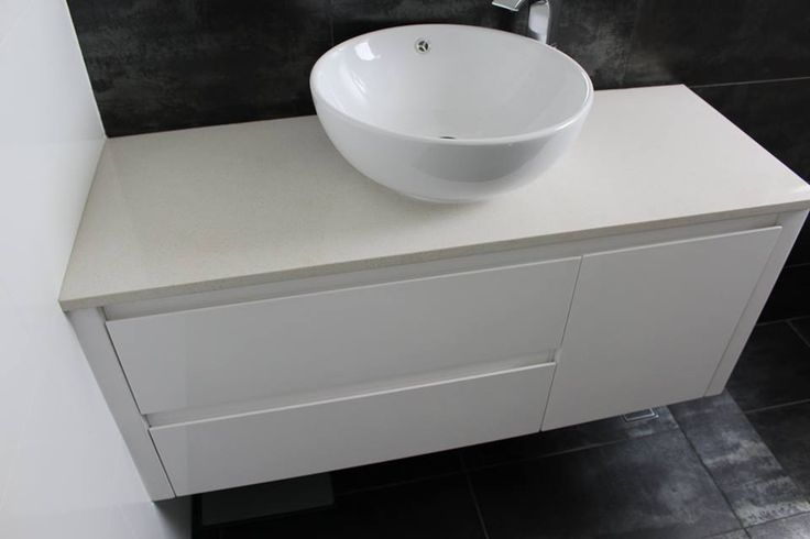 Wall Hung Vanity With Vessel Bowl and Engineered Stone Top   Bathroom Renovations Maylands   On The Ball Bathrooms