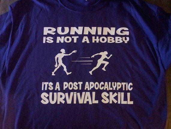 Women's Running T-shirt  Zombie Running Shirt  by YourCraftyCraze