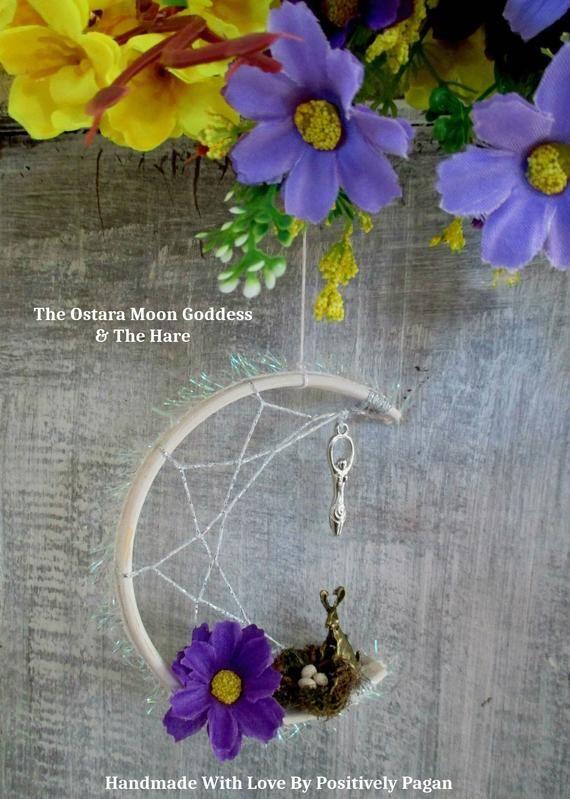 Handmade Positively Pagan Goddess Hare Ostara Moon Dreamcatcher