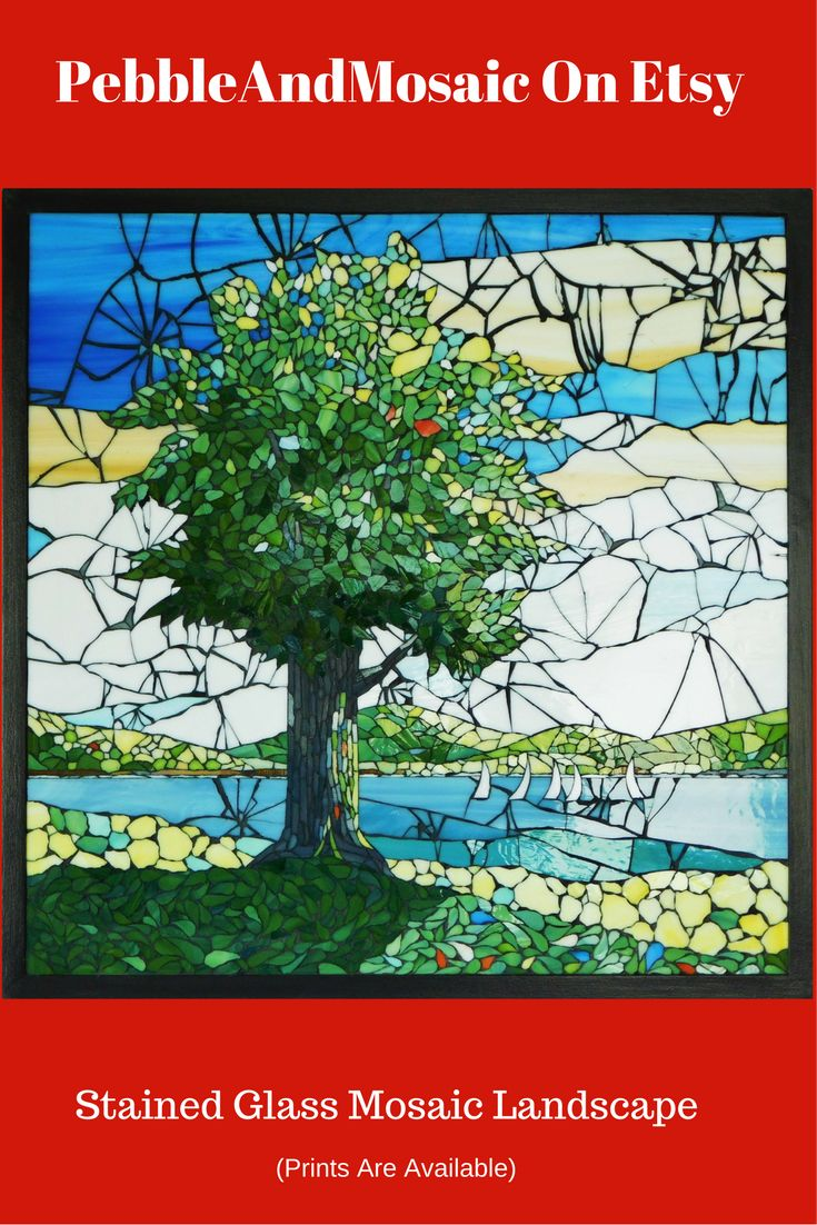 "Stained Glass Mosaic Landscape With Tree From PebbleAndMosaic-Etsy(Sight 505x505mm,Frame 542x542, 21 5/16""x21 5/16"")"