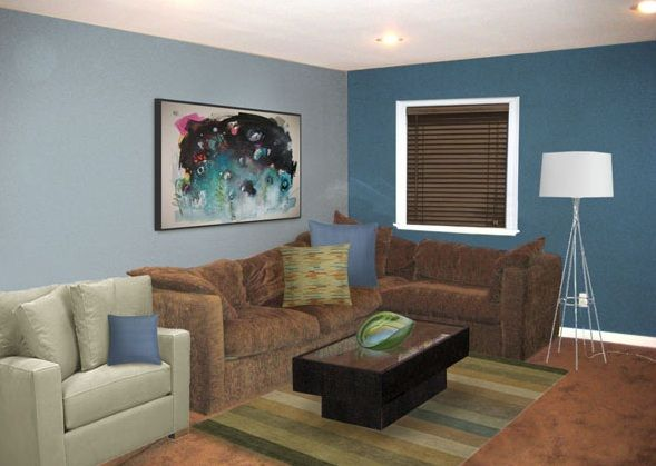Best Sweet Masculine In Brown And Blue Living Room Brown 640 x 480