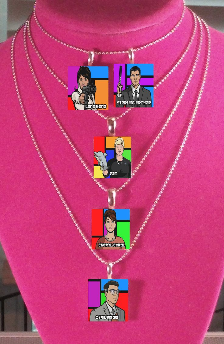 Archer Cast - Lana, Archer, Pam, Cheryl and Cyril. http://thejadesongbird.storenvy.com/products/11622920-archer-cast-collection-scrabble-tile-pendants