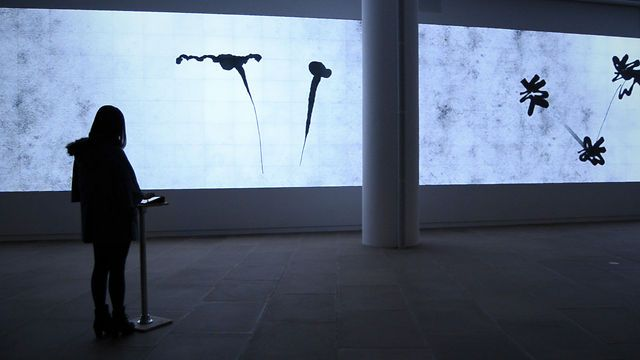Tablet Painting inkscapes by Adrià Navarro. An interactive drawing performance designed for the 120 by 11 feet video wall at the InterActive Corps (IAC) building in New York. #tablet #painting #art #movement #inspiration