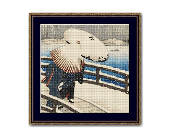 Japanese Snow Scene, Ohara Koson Counted Cross Stitch Pattern / Chart, Instant Digital Download  (ABJ023)