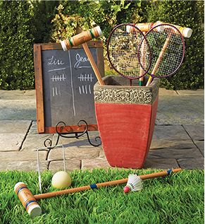 A unique backyard idea – create a fun outdoor game station.