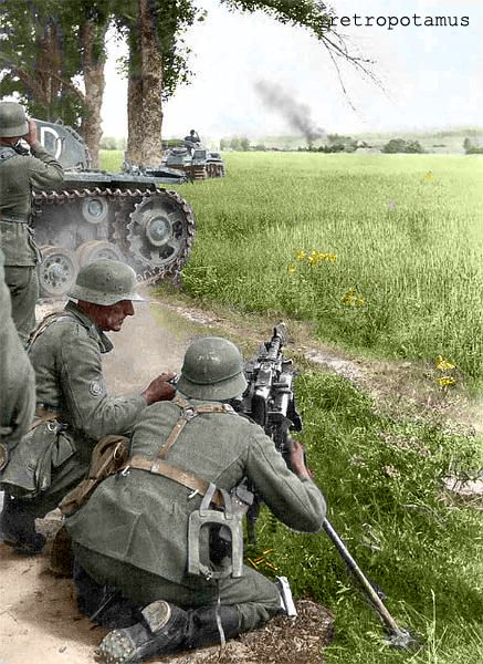 German machine gunners manning a MG mounted on tripod. Because this will be my story game for trying stop to Nazi destroy world. My character will be travelling through different time zones so Nazi Germany could be an idea.