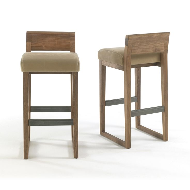 Dino barstool conveys undernoted chic look with the simplicity of its silhouette and the mix of raw materials. The piece features solid wood structure with a back that emphasizes its natural edge, upholstered seat covered in Utah bull leather in a choice of color, and metal footrests.