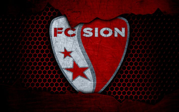 Download wallpapers Sion, 4k, logo, Swiss Super League, soccer, football club, Switzerland, grunge, metal texture, Sion FC