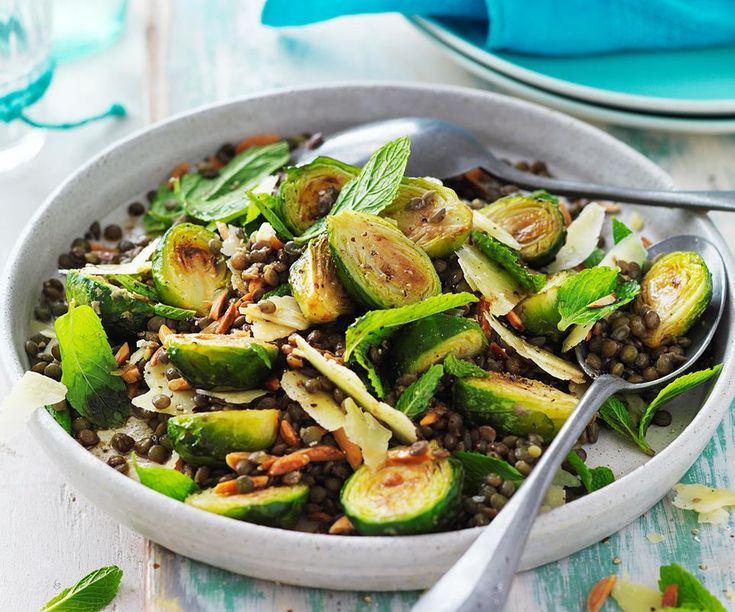 This delicious golden roasted brussels sprout and lentil salad is great for lunc…   – Salad