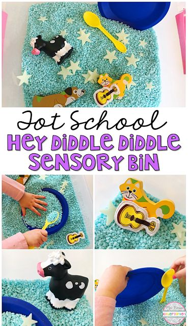This Hey Diddle Diddle Sensory Bin is so fun to explore and use for retelling during our Nursery Rhyme theme. Perfect for tot school, preschool, or the kindergarten classroom.