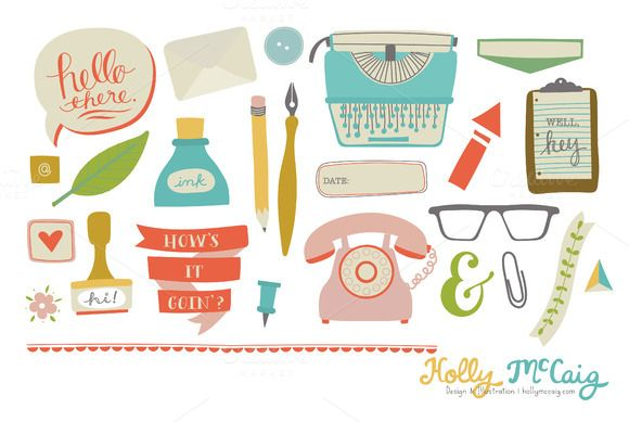 Office Space Business Clipart by Holly McCaig Creative on Creative Market