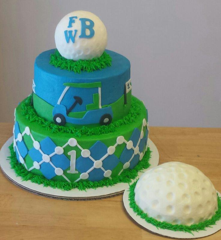 Golf theme first birthday cake