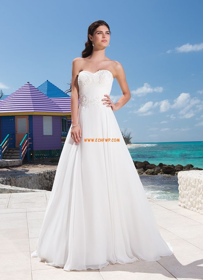 Beach/Destination Little White Dresses Appliques Wedding Dresses Cheap