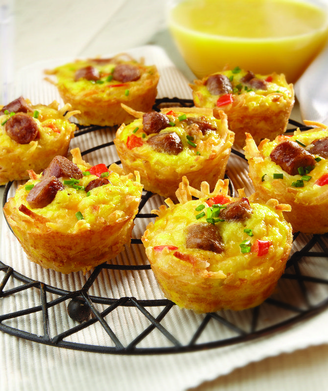 Recipe For 5 Quick and Easy Breakfasts - Try these simple breakfast recipes that can be made ahead of time, like Breakfast Taco Bar, Chipotle Monterey Jack Cheese Sausage Quesadillas, Slow Cooker Overnight Breakfast Casserole, Amazing Muffin Cups and Easy Sausage Roll-Ups.