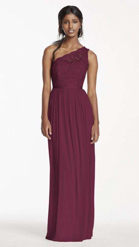 Long one shoulder lace bridesmaid  dress - wine   http://www.davidsbridal.com/Product_long-one-shoulder-lace-bridesmaid-dress-f17063