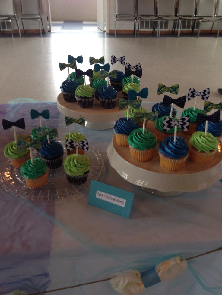 """Bow-tie cupcake toppers for """"Little Man"""" baby shower theme"""
