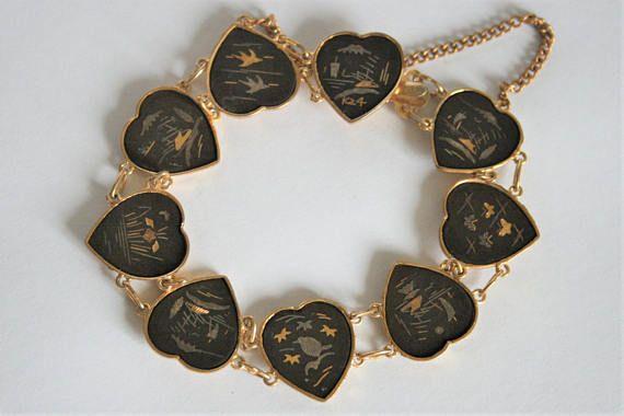 Vintage damascene bracelet. Japanese bracelet. Heart bracelet.